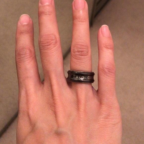 eb57022db Tiffany & Co. Jewelry | Tiffany Co Wide Black Band Ring Size 6 ...